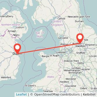 Leeds Dublin flight map