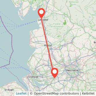 Lancaster Warrington train map