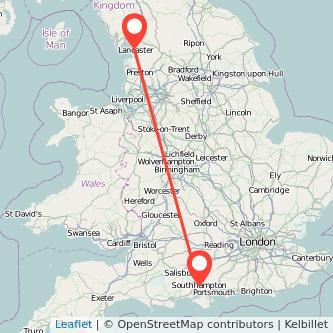 Lancaster Southampton train map