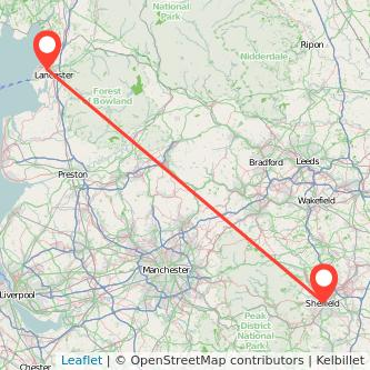 Lancaster Sheffield train map