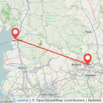 Lancaster Leeds train map