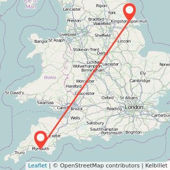 Hull Plymouth train map