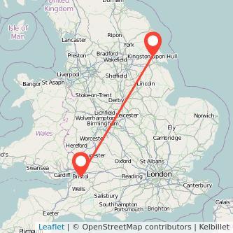 Hull Bristol train map