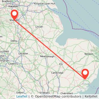 Ipswich Sheffield train map