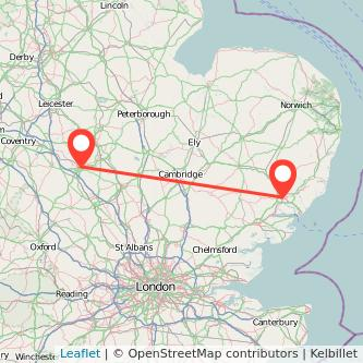 Ipswich Northampton train map
