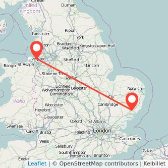 Ipswich Liverpool train map