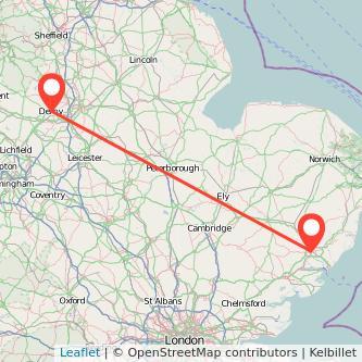 Ipswich Derby train map