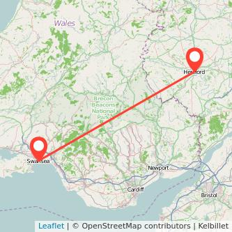 Hereford Swansea train map