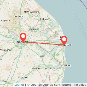 Great Yarmouth Norwich train map
