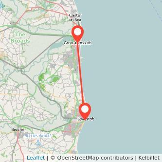 Great Yarmouth Lowestoft bus map