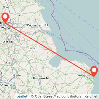 Great Yarmouth Leeds train map