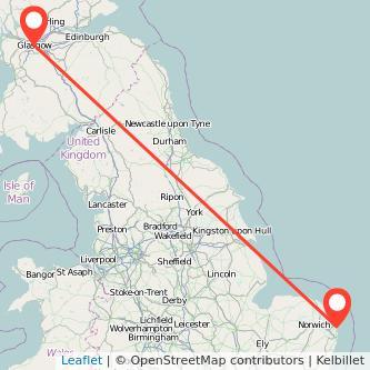 Great Yarmouth Glasgow train map