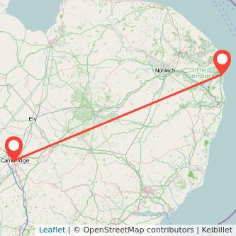 Great Yarmouth Cambridge train map