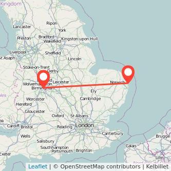 Great Yarmouth Birmingham train map