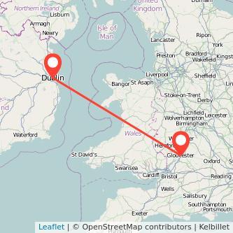 Gloucester Dublin flight map
