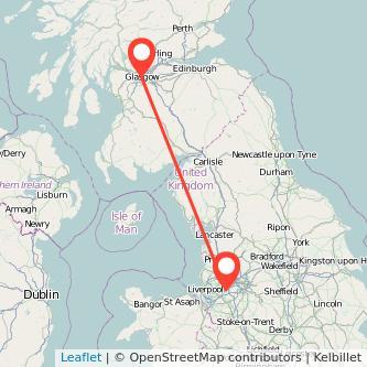 Glasgow Warrington train map