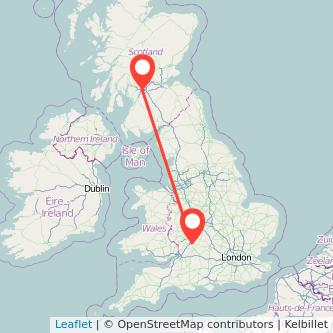 Glasgow Cheltenham bus map