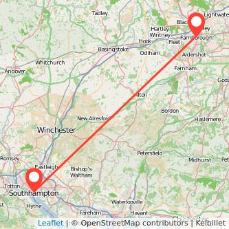Farnborough Southampton train map