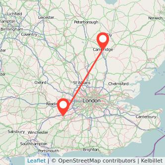 Farnborough Cambridge train map