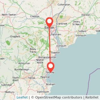 Exeter Torquay bus map