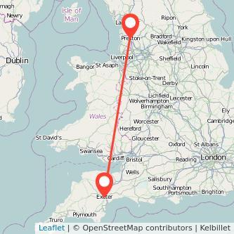 Exeter Preston train map