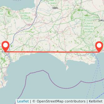 Exeter Bournemouth bus map