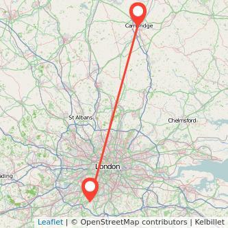 Epsom Cambridge train map