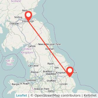 Edinburgh Grimsby train map