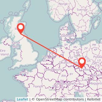 Edinburgh Prague train map