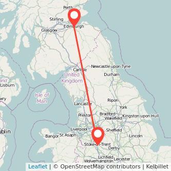 Edinburgh Stoke-on-Trent train map