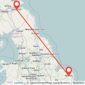 Edinburgh Norwich train map