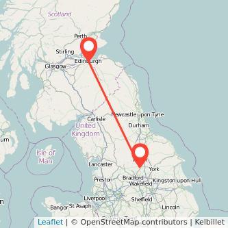 Edinburgh Harrogate train map
