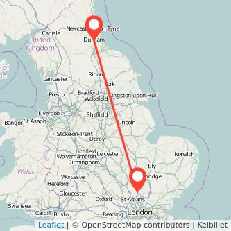 Durham Stevenage train map