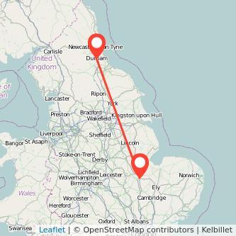 Durham Peterborough train map