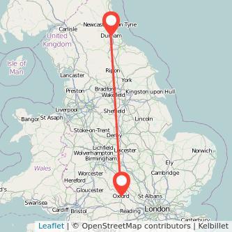 Durham Oxford train map