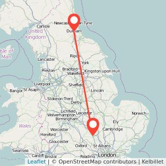 Durham Milton Keynes train map