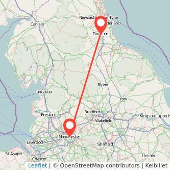 Durham Manchester train map