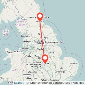 Durham Leicester train map