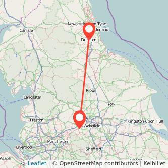Durham Huddersfield train map