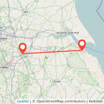 Doncaster Grimsby train map