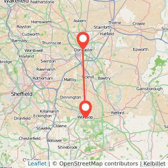 Doncaster Worksop train map
