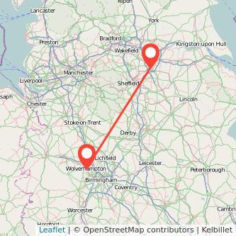 Doncaster Wolverhampton train map