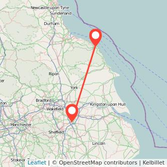Doncaster Whitby train map