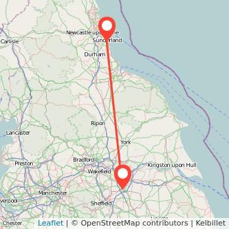 Doncaster Sunderland train map