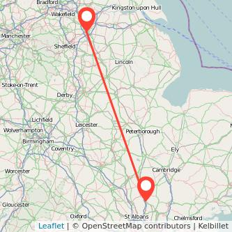 Doncaster Stevenage train map