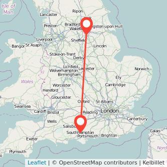Doncaster Southampton train map