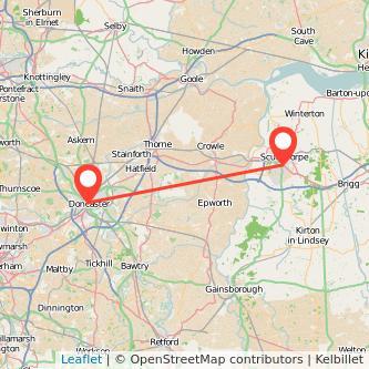 Doncaster Scunthorpe train map