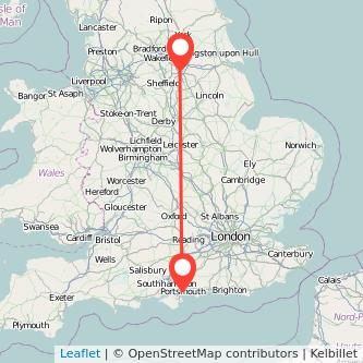 Doncaster Portsmouth train map