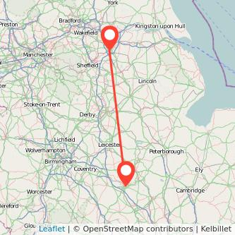 Doncaster Northampton train map