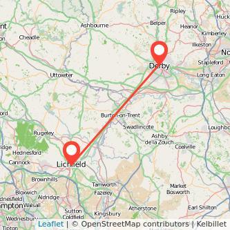 Derby Lichfield bus map